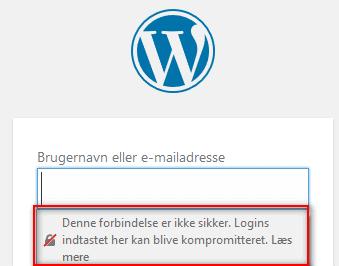 WP-login uden ssl. Login er ikke krypteret. Sikkerheden på WordPress ikke i top. Rene Sejling.