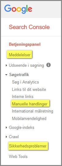 Screenshot Search Console. Tjek for problemer med din WordPress sikkerhed her. Renesejling.dk