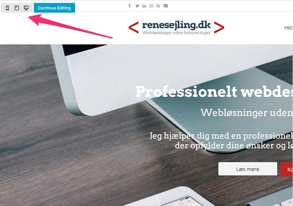 Screenshot mobilvisning. Beaver Builder page builder wordpress gør det nemt at designe til mobil.