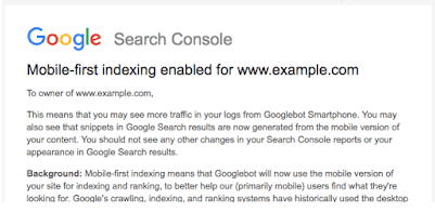 Ex. på Google Search Console besked om Mobile First indeksering. renesejling.dk